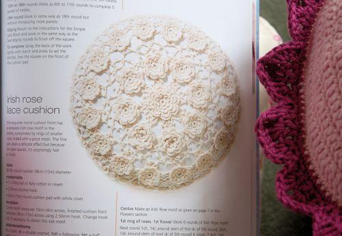 Irish Rose lace cushion