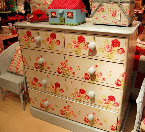 wallpaper covered chest of drawers 1